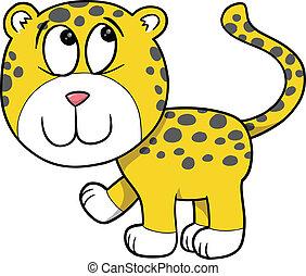 félénk, leopárd, vektor, csinos