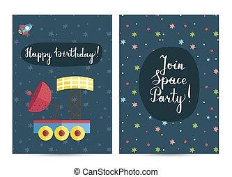 fél, costumed, születésnap, gyerekek, meghívás
