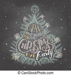 fél, előest, chalkboard, karácsony, meghívás