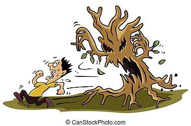 fél, fa, szörny, ember