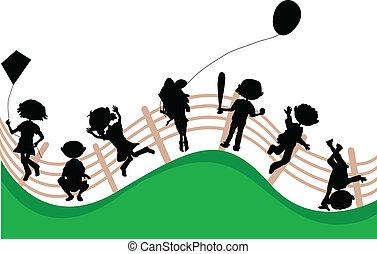 fél, körvonal, gyerekek, karikatúra