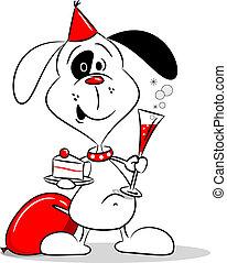 fél, karikatúra, kutya