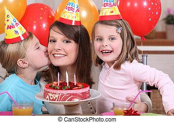 fél, kevés, születésnap, lány