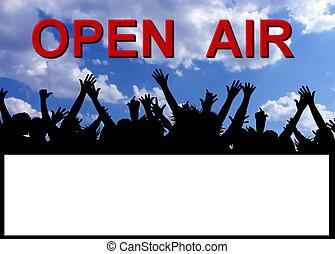fél, levegő, nyílik, plakát, meghívás