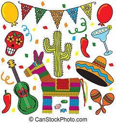 fél, művészet, fiesta, csíptet, mexikói