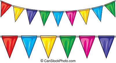 fél, (party, jelzőzászló, zászlók, bunting)