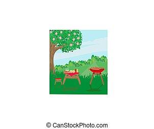 fél, pihenés, külső, piknik, kerti-parti