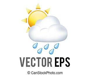 fél, sárga nap, befedett, felhő, vektor, eső, kék, esőcseppek, ikon