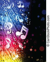 fél, színes, elvont, -, vektor, zene, háttér, lenget, fekete, hangjegy