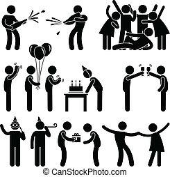 fél, születésnap, barát, ünneplés