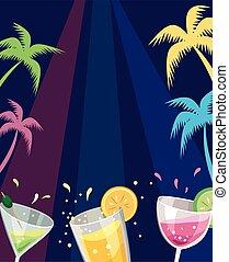 fél, tengerpart, színes, iszik