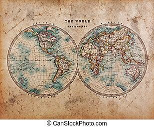 félgömbök, világ, öreg, térkép