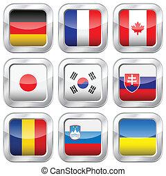 fém, nemzeti, derékszögben, zászlók, 3