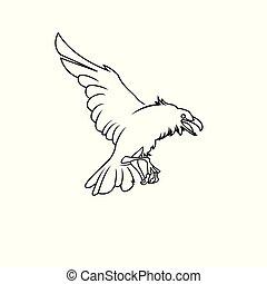 fényűzés, logo., abc, madár, ikon, keret, vektor, jelkép., finom, reven