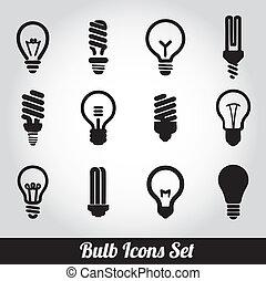 fény, állhatatos, bulbs., gumó, ikon