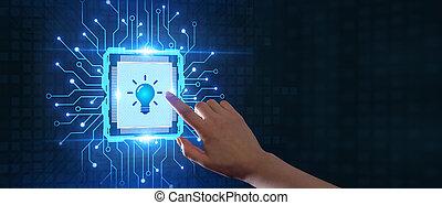 fény, újítás, solution., technológia, gumó, networking, ügy, concept., internet