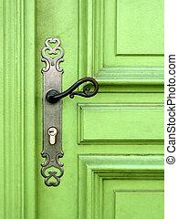 fény, ajtó, zöld