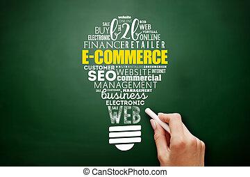 fény, e-commerce, gumó, szó, felhő