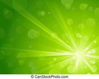 fény, fényes, zöld, kitörés