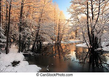 fény, folyó, tél, napkelte