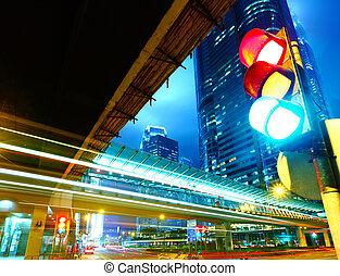 fény, forgalom, város