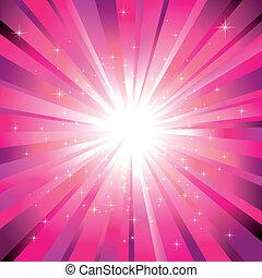 fény, fukszin, csillaggal díszít, szikrázó, kitörés