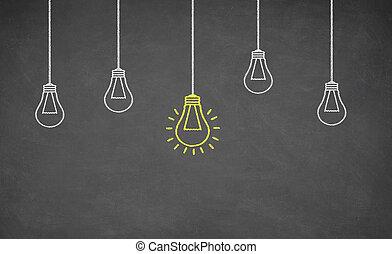 fény, gondolat, gumó, tábla