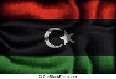 fény, gyűrött, háttér, lobogó, líbia