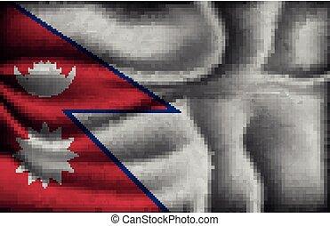 fény, gyűrött, nepal lobogó, háttér