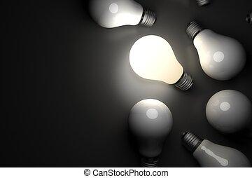 fény, izzó, gumó