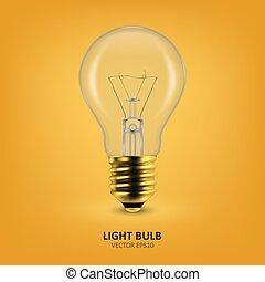 fény, izzó, gumó, tervezés, lamps., ügy, sablon, szál, sárga, clipart., el, izzó, vektor, 3, háttér., arany-, kreativitás, gondolat, gyakorlatias, closeup, ikon, újítás, fogalom