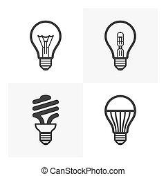 fény, különféle, gumó, ikonok