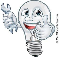 fény, karikatúra, kabala, gumó, lightbulb, betű