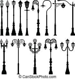 fény, lámpa, utca, lámpaoszlop, állás