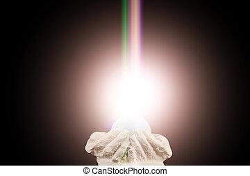 fény, lelki, kezezés csésze