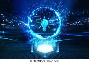 fény, networking, technológia, internet ügy, solution., gumó, concept., újítás