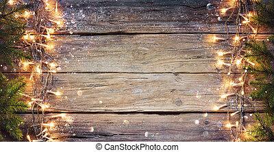 fény, palánk, elágazik, bokeh, húr, fából való, defocused, -, fenyő, határ, karácsony, falusias, elvont, öreg