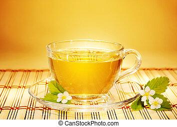 fény, reggel, eper, meleg, tea, lágy