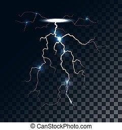 fény, vektor, hatás, villámlás