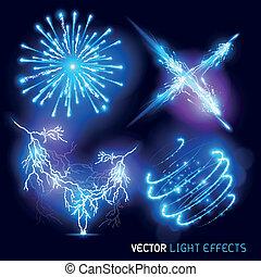 fény, vektor, hat