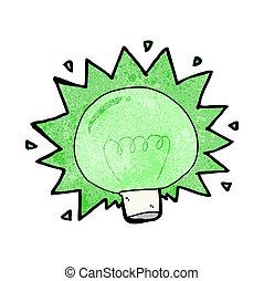 fény, villanás, zöld, karikatúra, gumó