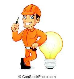 fény, vonzalom, villanyszerelő, gumó