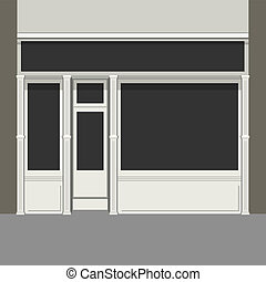 fény, windows., shopfront, facade., fekete, vector., bolt