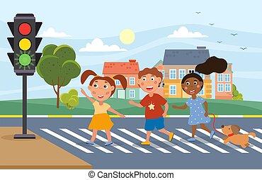 fény, young gyermekek, átkelés, forgalom, három