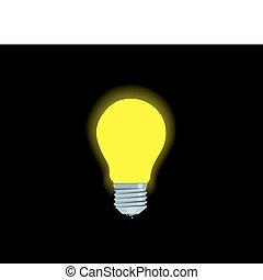 fényes, elektromos, sárga, lámpa