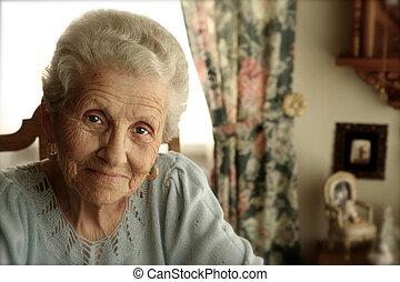 fényes, nő, szemek, öregedő