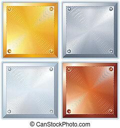 fényes, vektor, fém, cégtábla