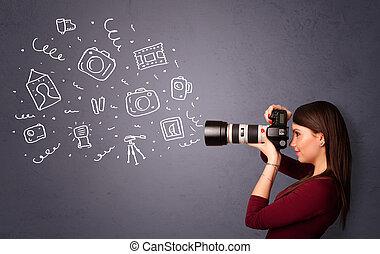 fényképész, leány, lövés, fotográfia, ikonok