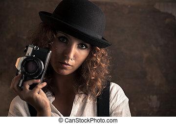 fényképész, nő, fényképezőgép