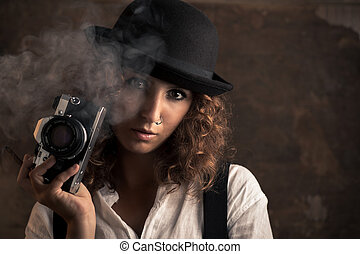 fényképész, nő, szivar